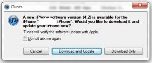 iOS 4.2 firmware download prompt 300x125 Download iOS 4.2.1 firmware direct links